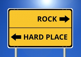 Rock + Hard Place Sign